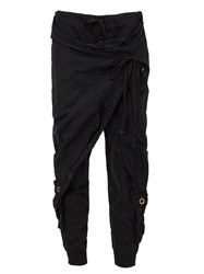 Greg Lauren Overlay Tapered Trousers Black