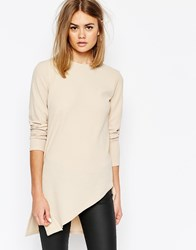 Daisy Street Tunic Top With Assymetric Hem Beige