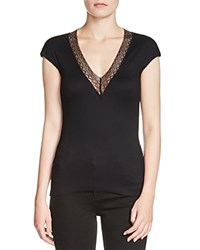Maje Lovely Lace Trim Ribbed Tee Black