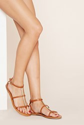 Forever 21 Metallic Faux Leather Sandals Tan