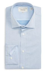 Ted Baker Men's Big And Tall London 'Chilo' Trim Fit Textured Dress Shirt Blue