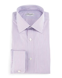 Charvet Check Barrel Cuff Dress Shirt Pink