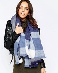 Liquorish Oversized Square Scarf Navy Blue