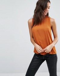 New Look Ruffle Neck Shell Top Ginger Fizz Orange