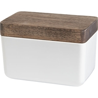 Rectangular White Bowl With Wood Lid Cb2
