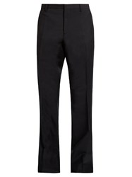 Burberry Flared Leg Mohair And Wool Blend Trousers Navy