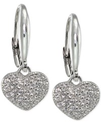 Macy's Giani Bernini Cubic Zirconia Glitter Pave Heart Drop Earrings In Sterling Silver Only At