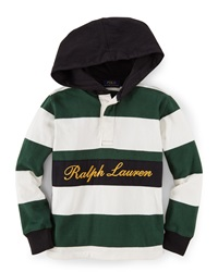 Ralph Lauren Childrenswear Striped Hooded Lightweight Sweatshirt Size 2 7 Green Multi