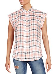 Saks Fifth Avenue Red Becky Plaid Shirt Coral