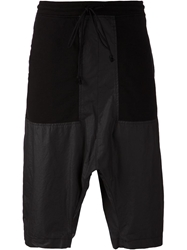 Lost And Found Drop Crotch Panelled Shorts Black