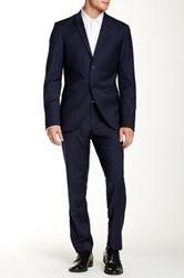 Tiger Of Sweden Blue Windowpane Peak Lapel Suit