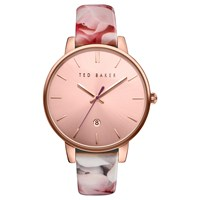 Ted Baker Women's Rose Date Floral Leather Strap Watch Multi Rose Gold