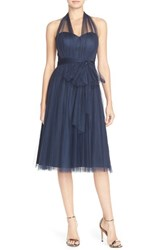 Women's Jenny Yoo 'Maia' Convertible Tulle Tea Length Fit And Flare Dress Navy