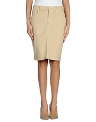Siviglia Denim Knee Length Skirts Beige