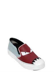 Fendi 20Mm Monster Leather Slip On Sneakers