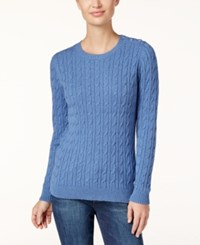 Charter Club Cable Knit Sweater Only At Macy's Carbon Blue Heather