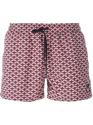 Fendi Bag Bugs Swim Shorts Red