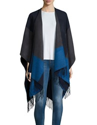 Echo Colorblocked Poncho Scarf Navy