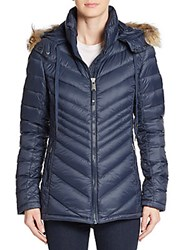 Pajar Canada Charlotte Fur Trimmed Chevron Puffer Coat Navy