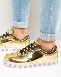 Wize And Ope Led Metallic Low Trainers Gold
