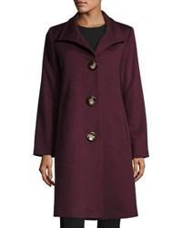 Fleurette Stand Collar Wool Blend Long Coat Claret