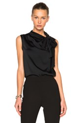 Victoria Beckham Heavy Matte Satin Sleeveless Tie Blouse In Black