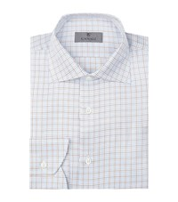 Canali Contrast Check Cotton Shirt Male Blue