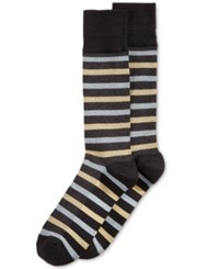 Perry Ellis Printed Dress Socks Black Stripe