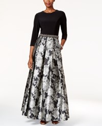 Alex Evenings Embellished Floral Print Ball Gown Black Silver