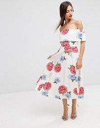 Asos Soft Off The Shoulder Bardot Midi Prom Dress In Oversized Florals Multi
