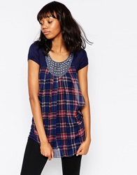Pussycat London Tartan Tunic With Embellished Neckline Blue