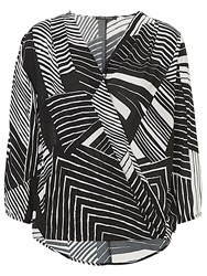 Betty Barclay Wrapped Graphic Print Blouse White Black