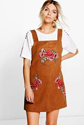 Boohoo Crisa Embroidered Suede Pinafore Dress Tan