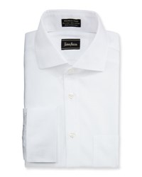 Neiman Marcus Classic Fit Non Iron Dobby Dress Shirt White