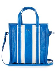 Balenciaga Bazar Small Leather Tote Blue Stripe