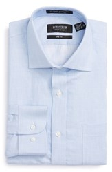Nordstrom Men's Big And Tall Men's Shop Trim Fit Solid Linen And Cotton Dress Shirt Blue Grapemist