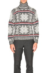 Thom Browne Norwegian Fair Isle Turtleneck In Gray Stripes Abstract Gray Stripes Abstract
