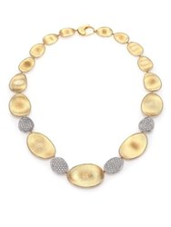 Marco Bicego Lunaria Diamond And 18K Yellow Gold Four Station Collar Necklace