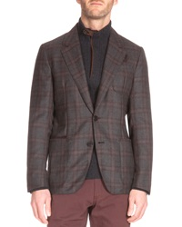 Berluti Plaid Two Button Cashmere Jacket Charcoal