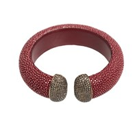 Latelita London Stingray Cuff Gold Garnet And Champagne Red Brown
