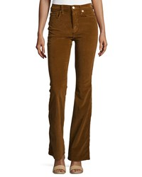 7 For All Mankind Fashion Flare High Waist Pants Cognac Red