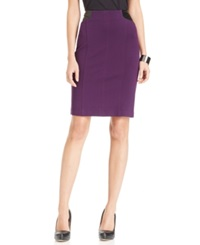Laundry By Shelli Segal Faux Leather Trim Pencil Skirt Blackberry
