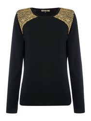 Biba Embellished Shoulder Soft Crew Neck Jumper Black