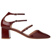 Whistles Montana Triple Strap Court Shoes Dark Red Patent