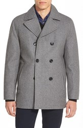 Men's Michael Kors Wool Blend Double Breasted Peacoat Heather Grey
