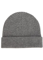 Johnstons Of Elgin Light Grey Ribbed Cashmere Hat