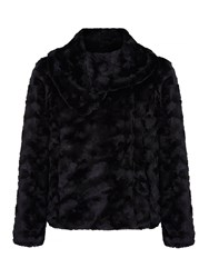 Yumi Faux Fur Shawl Collar Jacket Black