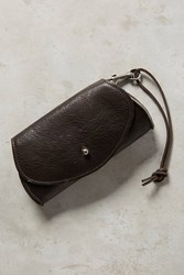 Anthropologie Pebbled Leather Pouch Chocolate Brown