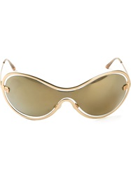 Chanel Vintage Oversize Logo Sunglasses Metallic