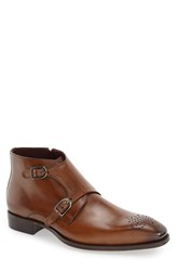 Mezlan Men's 'Rocca' Midi Double Monk Strap Boot Cognac